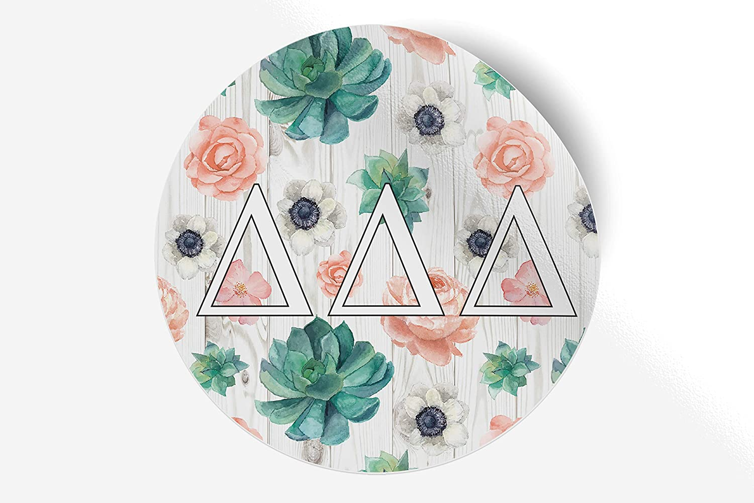 "Delta Delta Delta Sticker Greek Sorority Decal for Car, Laptop, Windows, Officially Licensed Product, Monogram Design 5"" x 5"" - Succulents Floral"