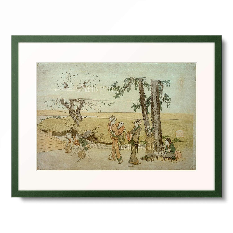 葛飾北斎 Katsushika Hokusai 額装アート作品 S(額内寸 255mm×203mm) 12.木製額 13mm(緑) B07PTQK7N9
