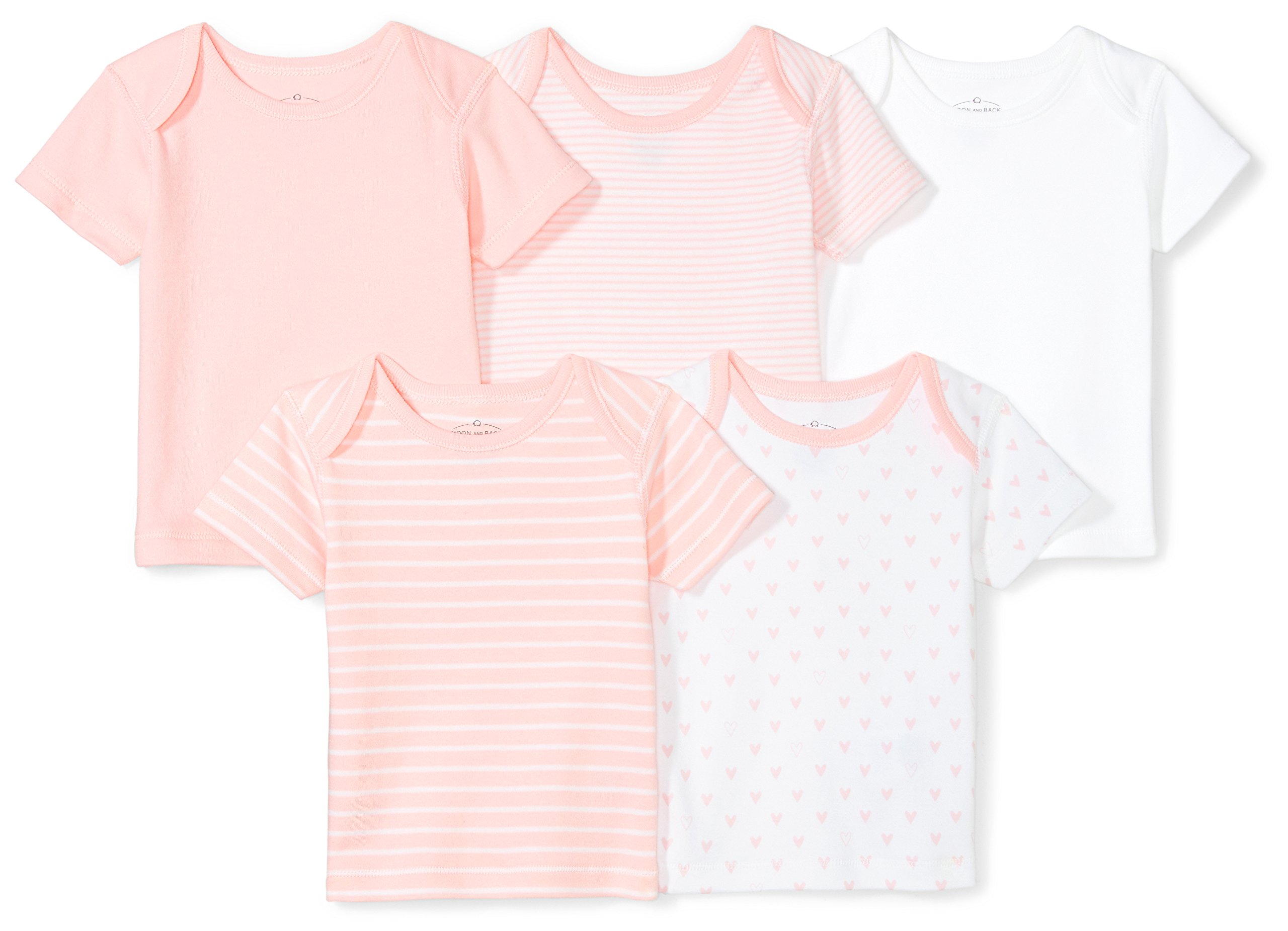 Moon and Back Baby Set of 5 Organic Lap-Neck Crew Short-Sleeve Tee Shirts, Pink Blush, 18 Months by Moon and Back