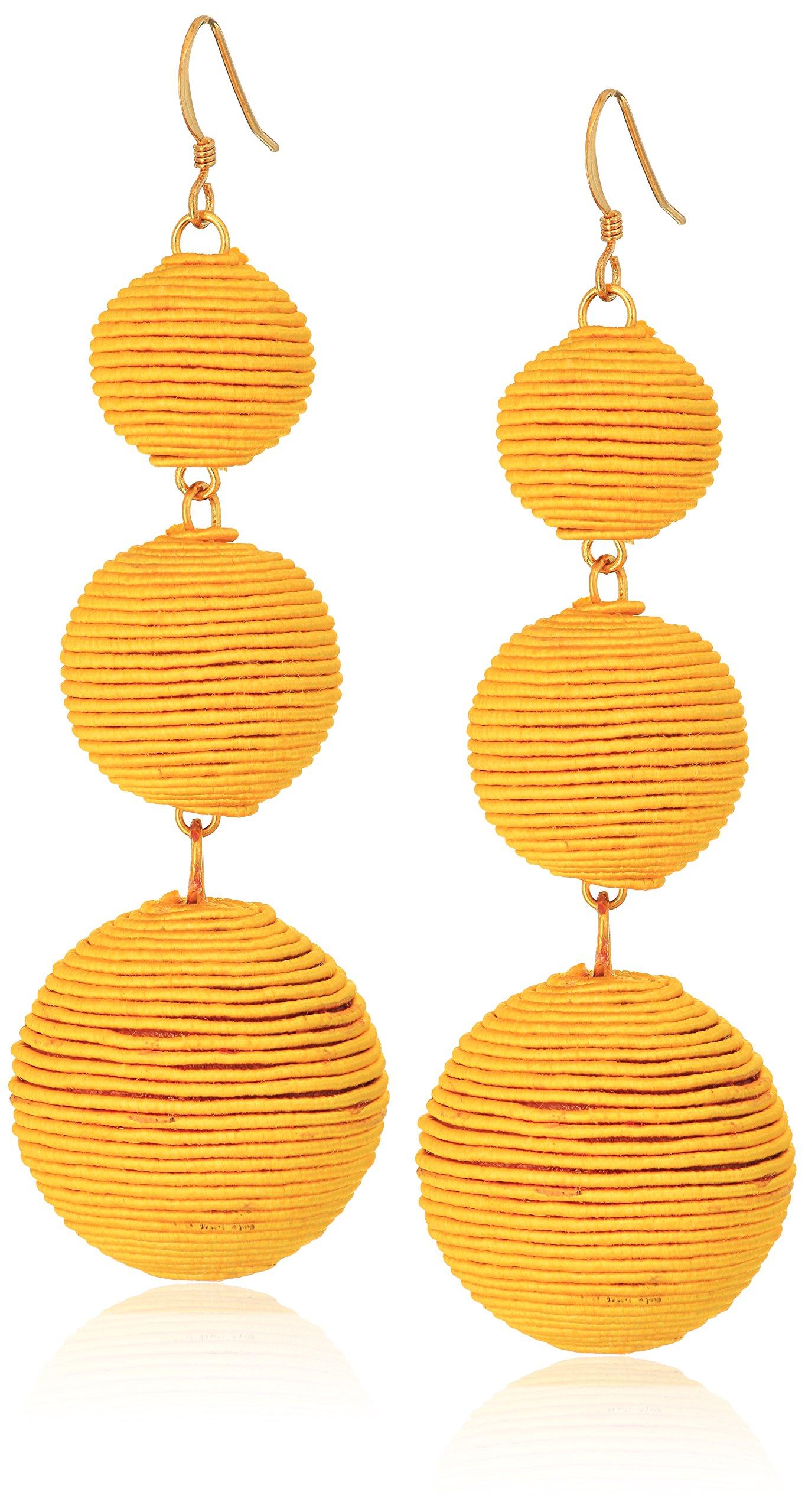 Kenneth Jay Lane Yellow Thread Ball Drop Earrings
