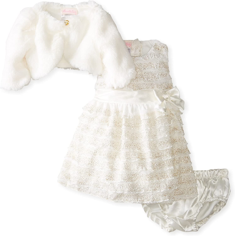 Nannette Baby-Girls Infant 3Piece Velboa Dress Set