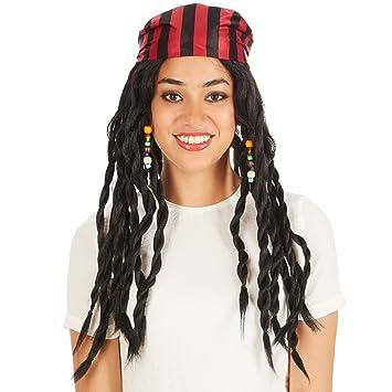 dressforfun Peluca de Pirata para Mujer | Bonitas y Salvajes Rastas con Pañuelo