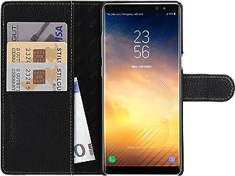 StilGut Talis Case con Tasca per Carte, Custodia in Pelle Cover per Samsung Note 8. Chiusura a Libro Flip-Case in Vera Pelle Fatta a Mano, pratiche Tasche per Carte di Credito, Nero