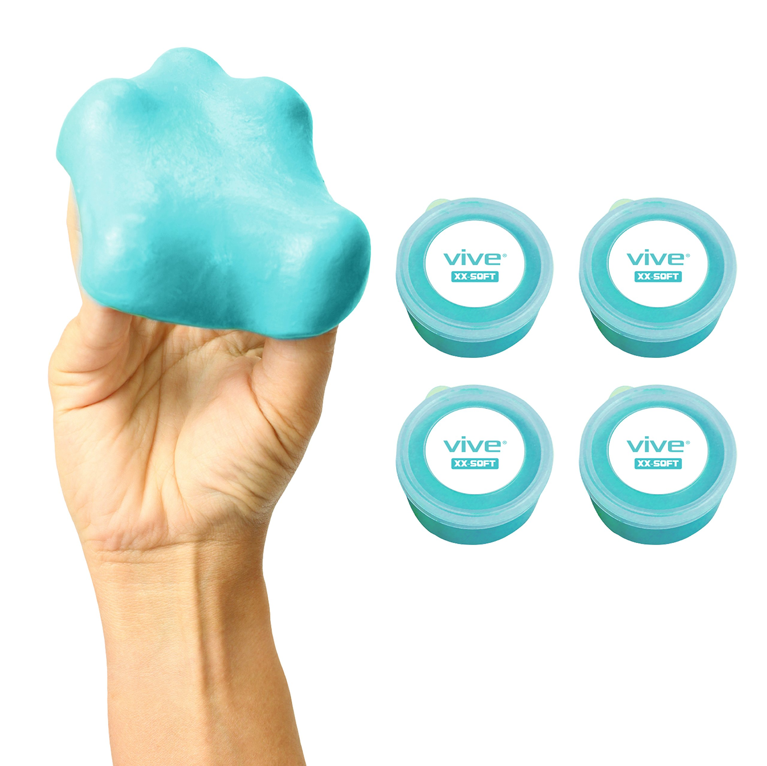 XX Soft Therapy Putty by Vive (4-Pack) for Finger, Hand & Grip Strength Exercises - Extra Soft, Soft, Medium and Firm Resistance Kit for Occupational, Physical Therapy, Thinking and Stress