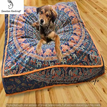ganesham- gran Mandala cuadrado suelo almohada puf infantil perro cama cojín decorativo funda de almohada