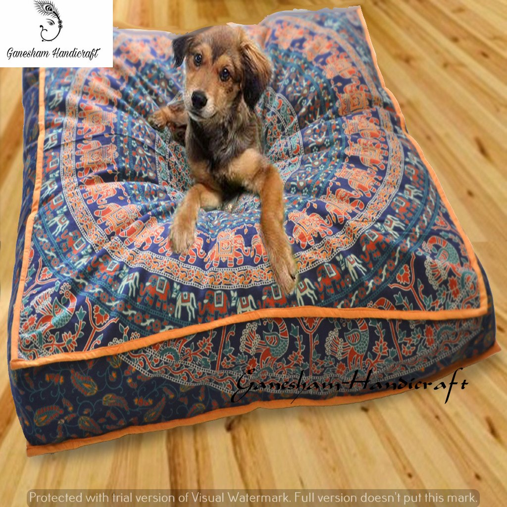Ganesham- Large Mandala Square Floor Pillow Pouf Dog Bed Cushion Decorative Mandala Pillow Cover Hippie Indian Boho Mandala Dog Bed, Tapestry Bed For Dog, Bohemian Pouf Ottoman (Cover Only)