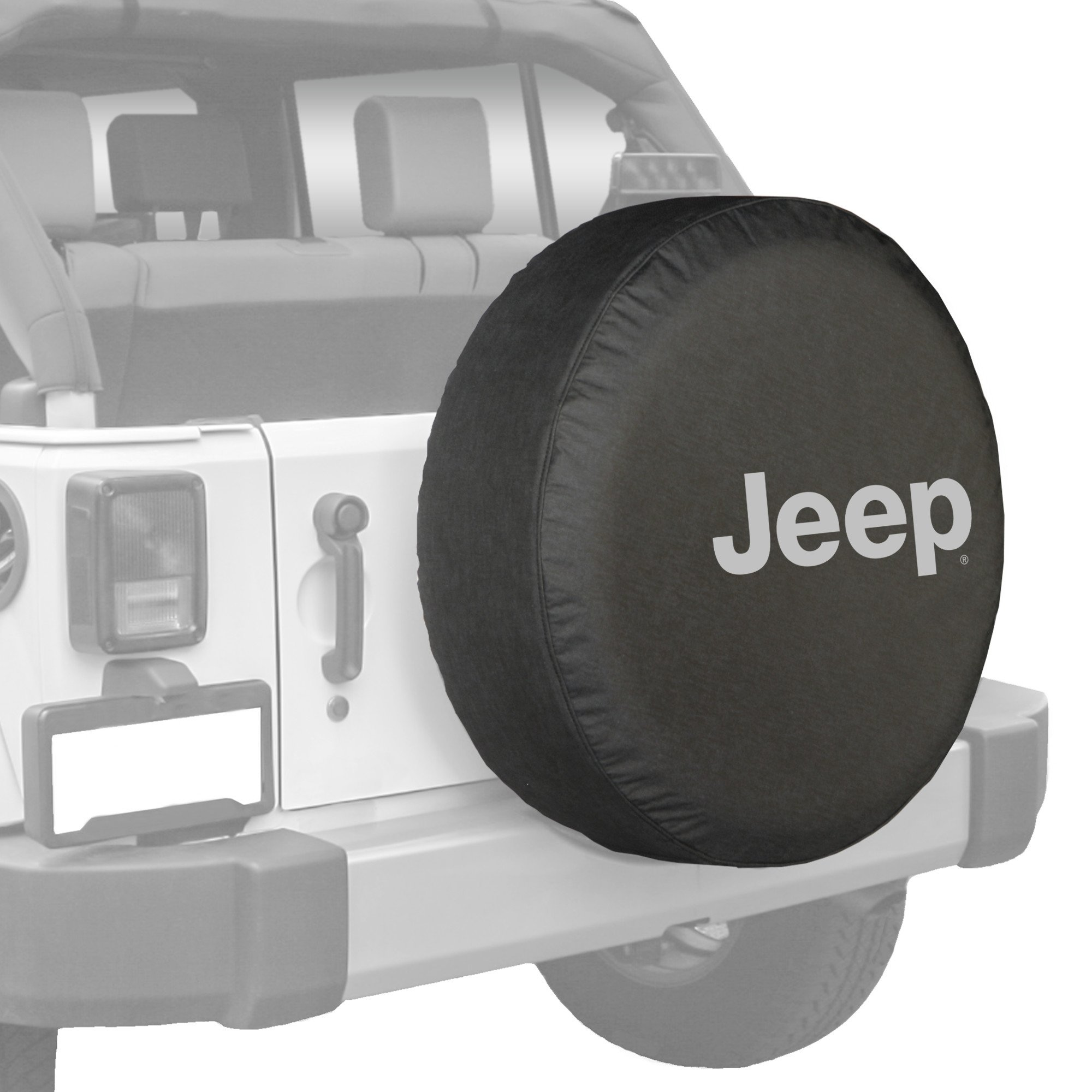 32'' Jeep Logo Tire Cover - (Black Denim Vinyl) - Silver Print - Made in the USA by Optimum USA (Image #3)