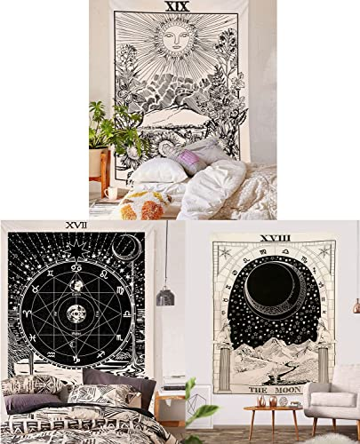 BLEUM CADE Tarot Tapestry The Moon The Star The Sun Tapestry Medieval Europe Divination Tapestry Wall Hanging Tapestries Mysterious Wall Tapestry for Home Decor Pack of 3, 70×92 Inches