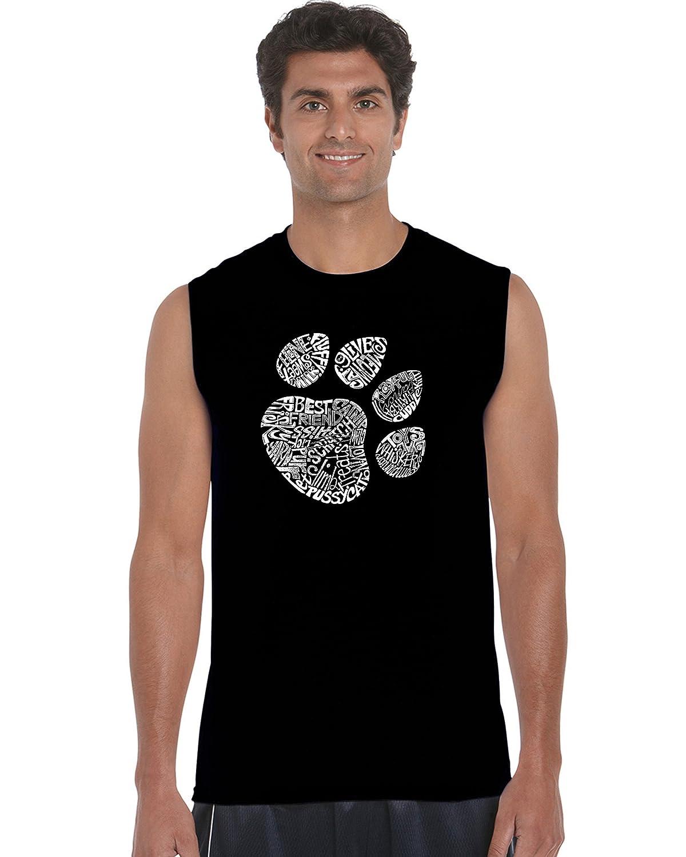LA Pop Art Mens Sleeveless Word Art T-Shirt Cat Paw