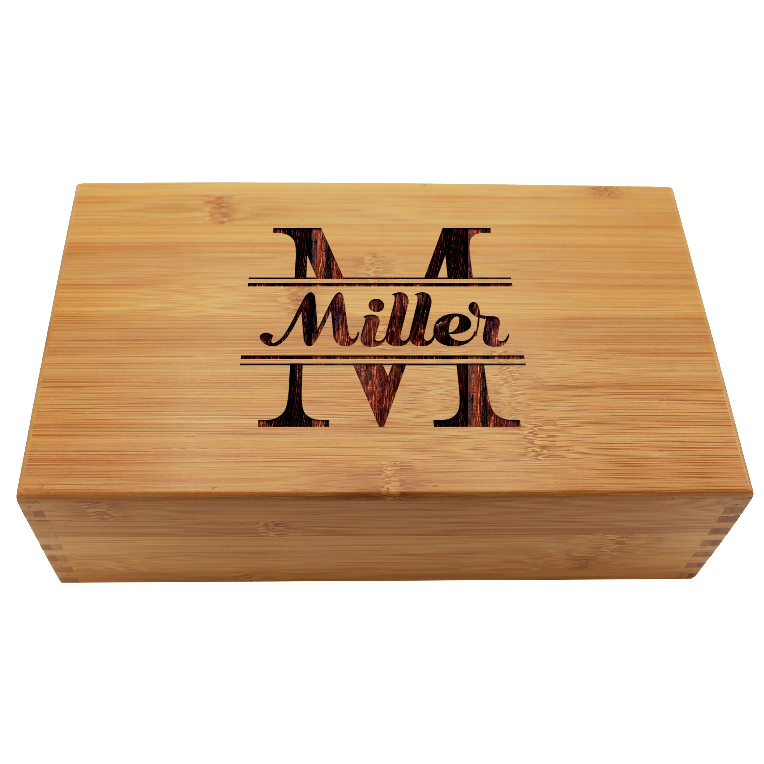 Custom Personalized Wood Tea Box Caddy Organizer - Engraved Bamboo Tea Storage Holder - Monogrammed for Free by The Wedding Party Store (Image #2)