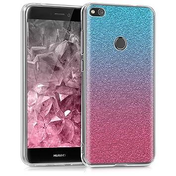 kwmobile Funda para Huawei P8 Lite (2017) - Carcasa de [TPU] para móvil y diseño Degradado de Purpurina en [Rosa Fucsia/Plata/Azul Claro]