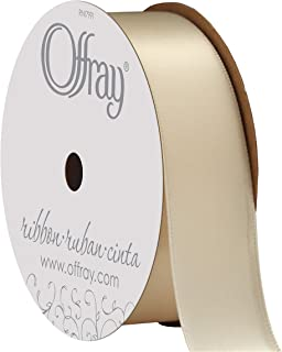 "product image for Berwick Offray 362020 7/8"" Double Face Satin Ribbon, 6-Yard Spool, Ivory White"