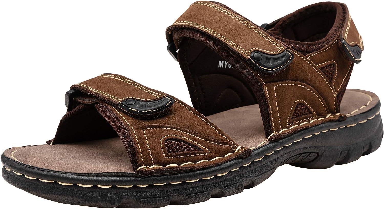 JOUSEN Mens Sandals Leather Open Toe