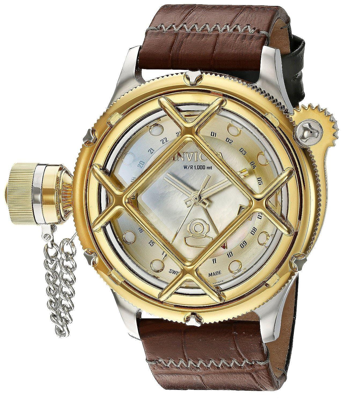 [インヴィクタ]Invicta 腕時計 'Russian Diver' Swiss Quartz Stainless Steel and Two Tone Leather Casual Watch 18590 メンズ [並行輸入品] B01K8M8I2Q