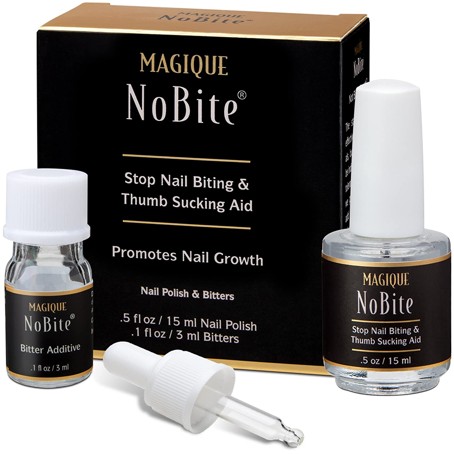Stop Nail Biting, Stop Thumb Sucking Treatment for Kids & Adults - Promotes Nail Growth - Magique No Bite, 0.5-Fluid Ounce MAG-NB15