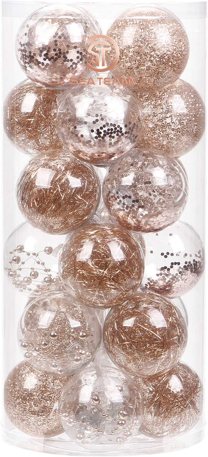 """Sea Team 70mm/2.76"""" Shatterproof Clear Plastic Christmas Ball Ornaments Decorative Xmas Balls Baubles Set with Stuffed Delicate Decorations (24 Counts, Rose Gold)"""