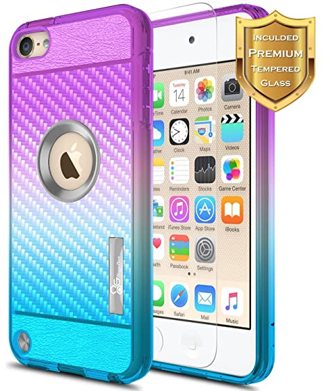 huge discount 10993 f8cad iPod Touch 5/6 / 7 Case, iPod Touch 5th / 6th / 7th Generation Case  w/[Tempered Glass Screen Protector], NageBee Frost Clear [Carbon Fiber] ...