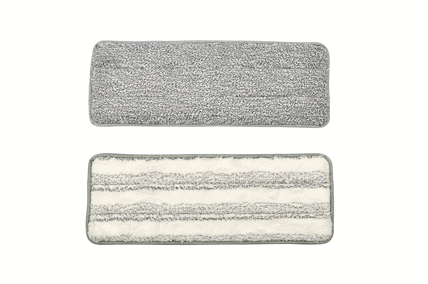 2pcs 1 Gray Flat Mop Pads Compatible with Oshang Flat Squeeze Mop and Bucket 1 White