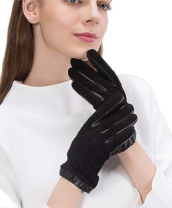 Ladies Womens 100/% Genuine Sheepskin Leather Fleece Lined Winter Driving Gloves