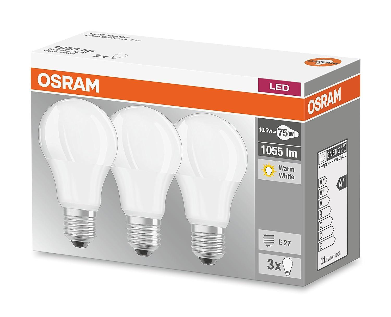 Osram Base - Bombilla LED E27, 115 W, Blanco cálido, 3 Unidades por paquete: Amazon.es: Iluminación