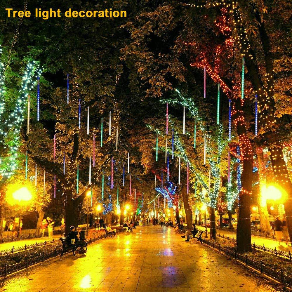 DDLBiz 8PCS Party LED Lights Meteor Shower Rain Snowfall Xmas Tree Garden Outdoor (White)