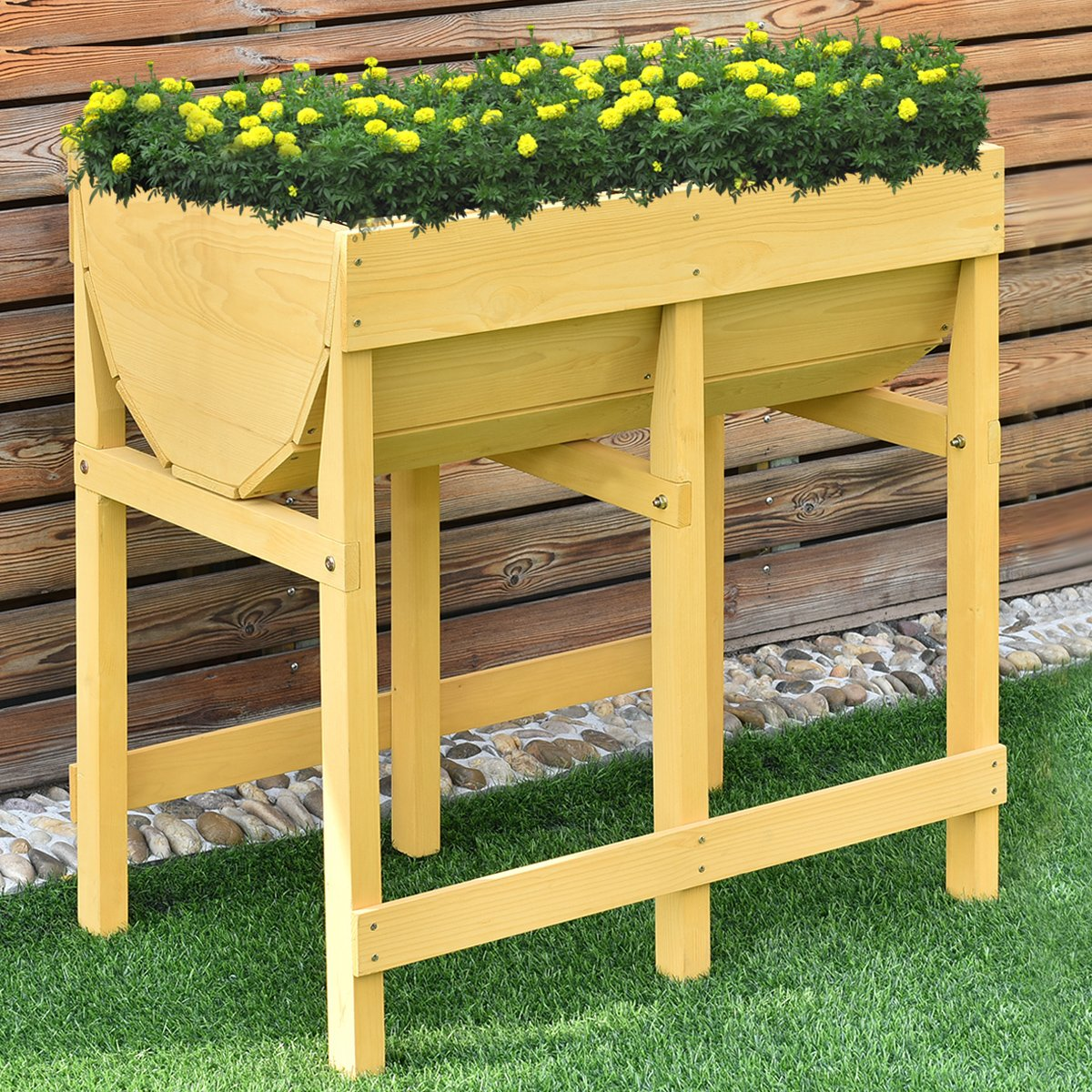 Tawny V Planter Giantex Raised Wooden V Planter Elevated Vegetable Flower Bed Free Standing Planting Container with Black Liner