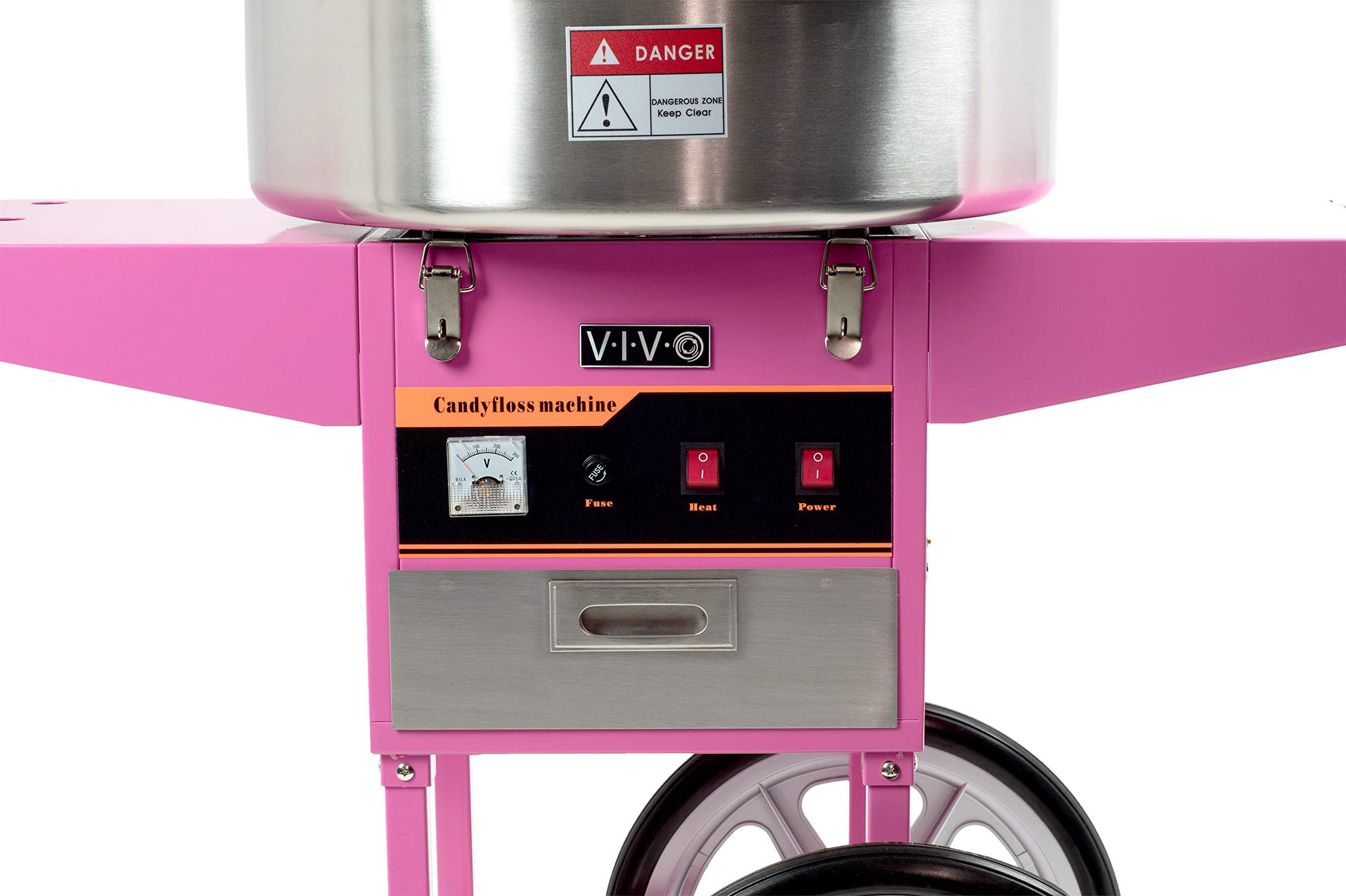 Electric Commercial Cotton Candy Machine / Candy Floss Maker Pink Cart Stand VIVO (CANDY-V002) by VIVO (Image #3)