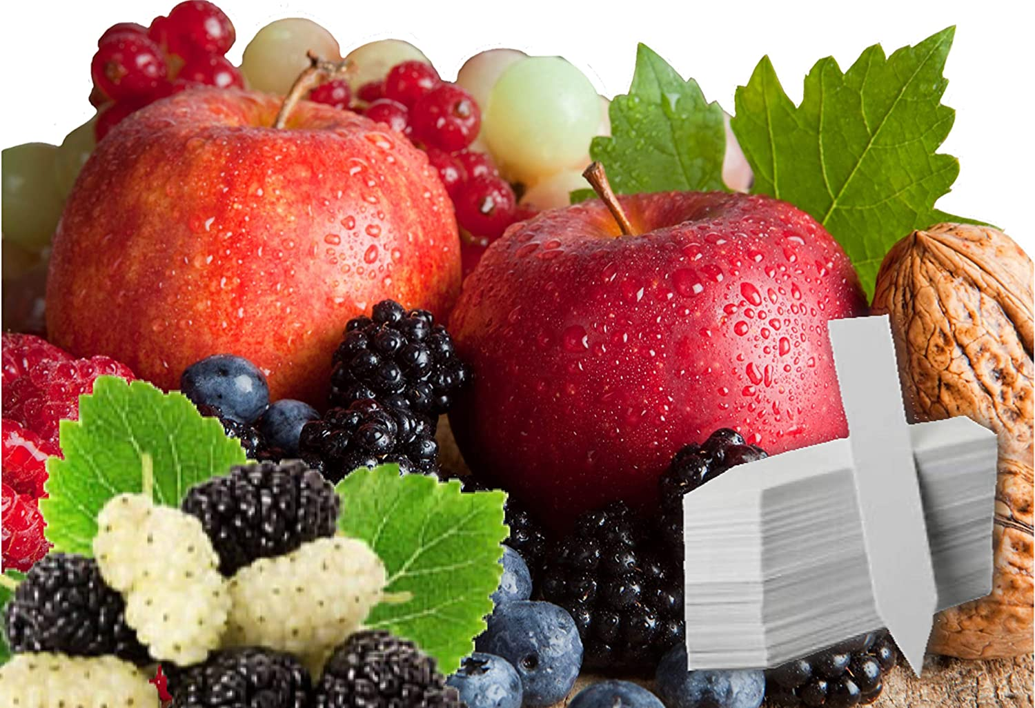 Fruit Combo Pack Raspberry, BlackBerry, Blueberry, Strawberry, Apple, Mulberry 575+ Seeds UPC 695928808755 & 4 Free Plant Markers