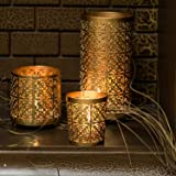 Lighthaus Candle Holders - Set of 3 (Gold, 3.5 x 3-inches)