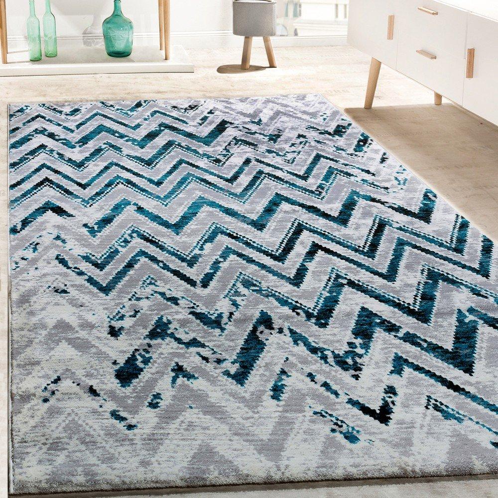 Paco Home Designer Teppich Wohnzimmer Modern Zick Zack Grosse Grau