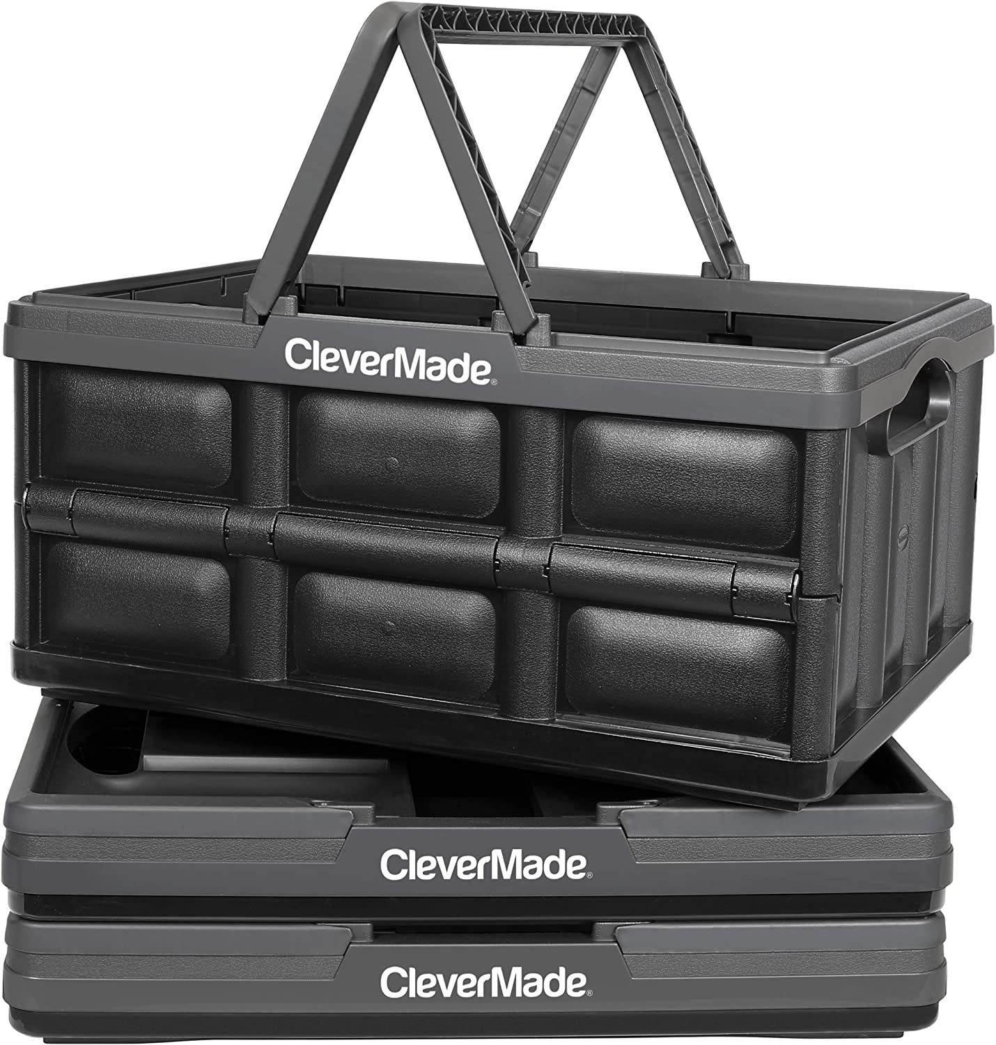 CleverMade Collapsible Plastic Storage Bins with Handles - Multi-Use Stackable Folding Crates for Home and Garage Organization - 32L CleverCrates - Pack of 3, Charcoal