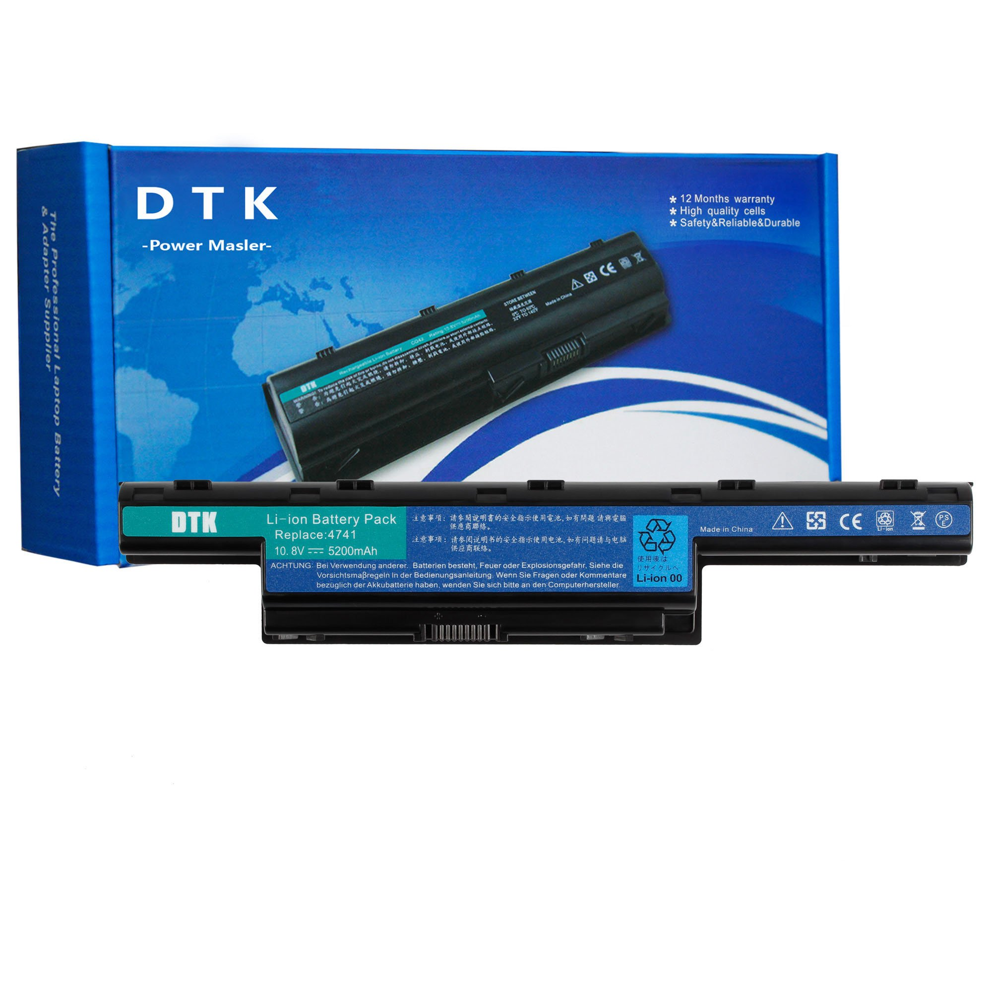 DTK 10.8V 5200mAh Laptop Battery for ACER Aspire 4250 4333 4551 4741 4743 5250 5253 5336 5552 5733 5741 5742 5750 5755 TravelMate 5735 5740 5742 Gateway NV50A NV53A NV55C NV59C
