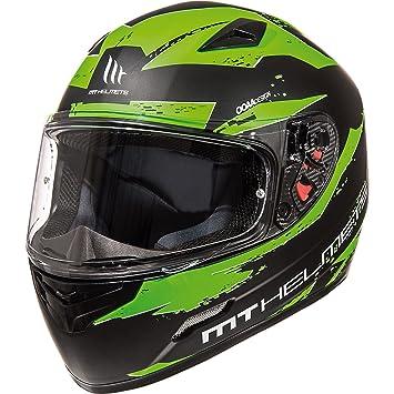 MT Mugello Vapour - Casco de motocicleta, negro mate y verde