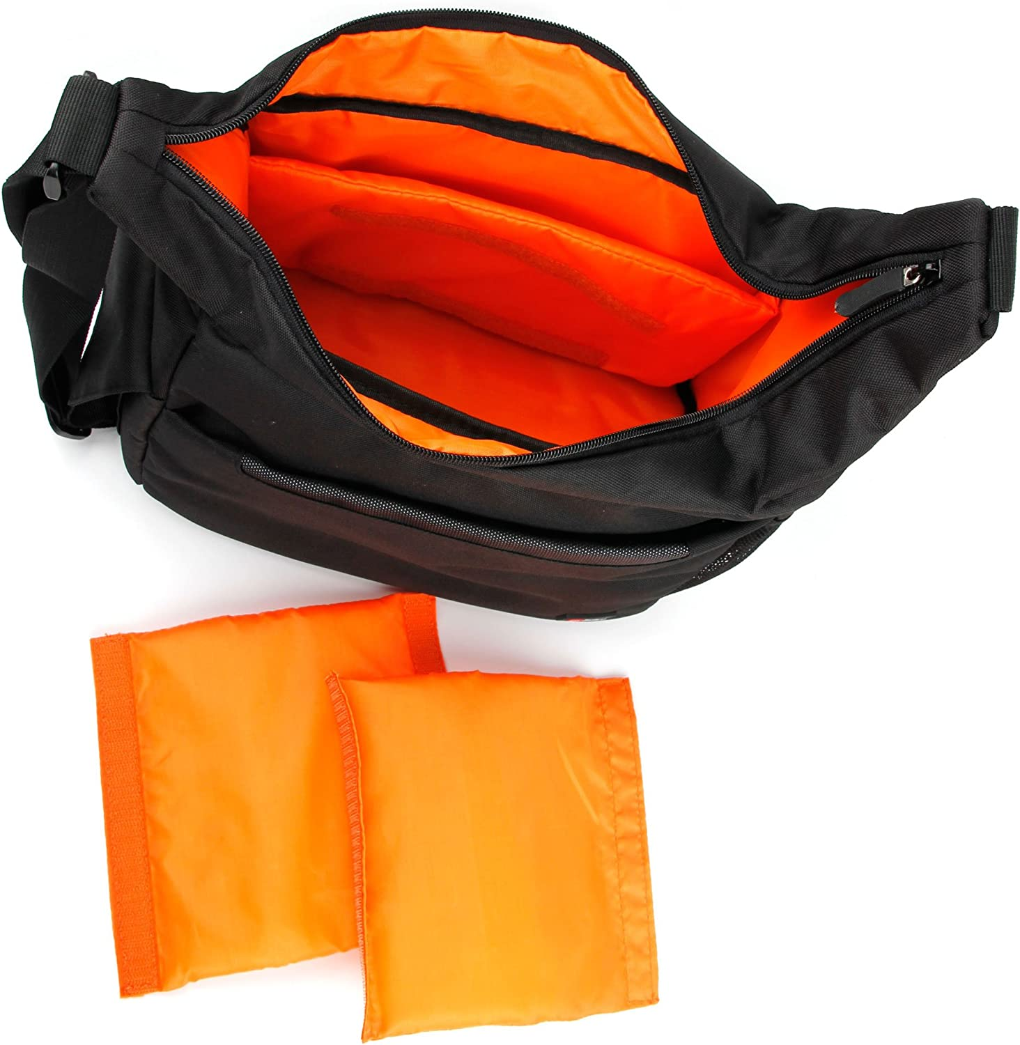 Compatible with Sainlogic 4k Action Cam DURAGADGET Durable Shoulder Sling Bag in Black /& Orange
