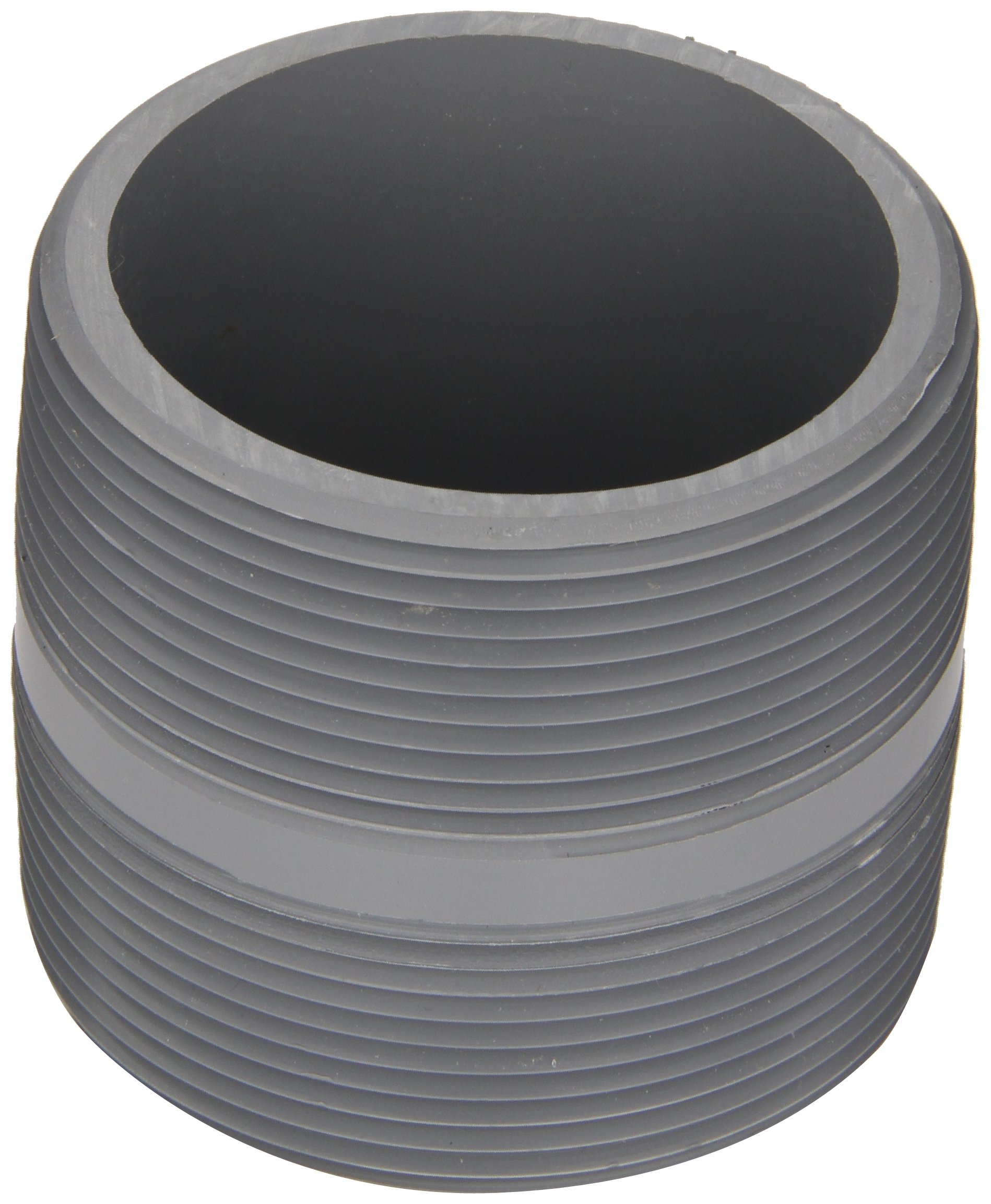 Spears 88-C Series CPVC Pipe Fitting, Nipple, Schedule 80, Gray, 3'' NPT Male, 3'' Length