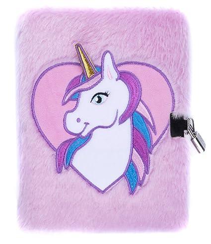 Agenda en peluche Fringoo® - Pour garçons et filles - Format A5 - 3D - Avec verrou et marque-page - Adorable licorne - 80 pages a5 Unicorn Heart