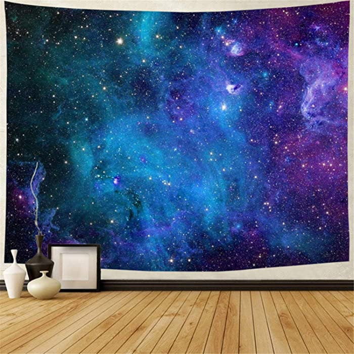 Lahasbja Galaxy Tapestry Blue Starry Sky Tapestry Universe Space Tapestry Wall Hanging Psychedelic Tapestry Mysterious Nebula Stars Wall Tapestry for Living Room Dorm