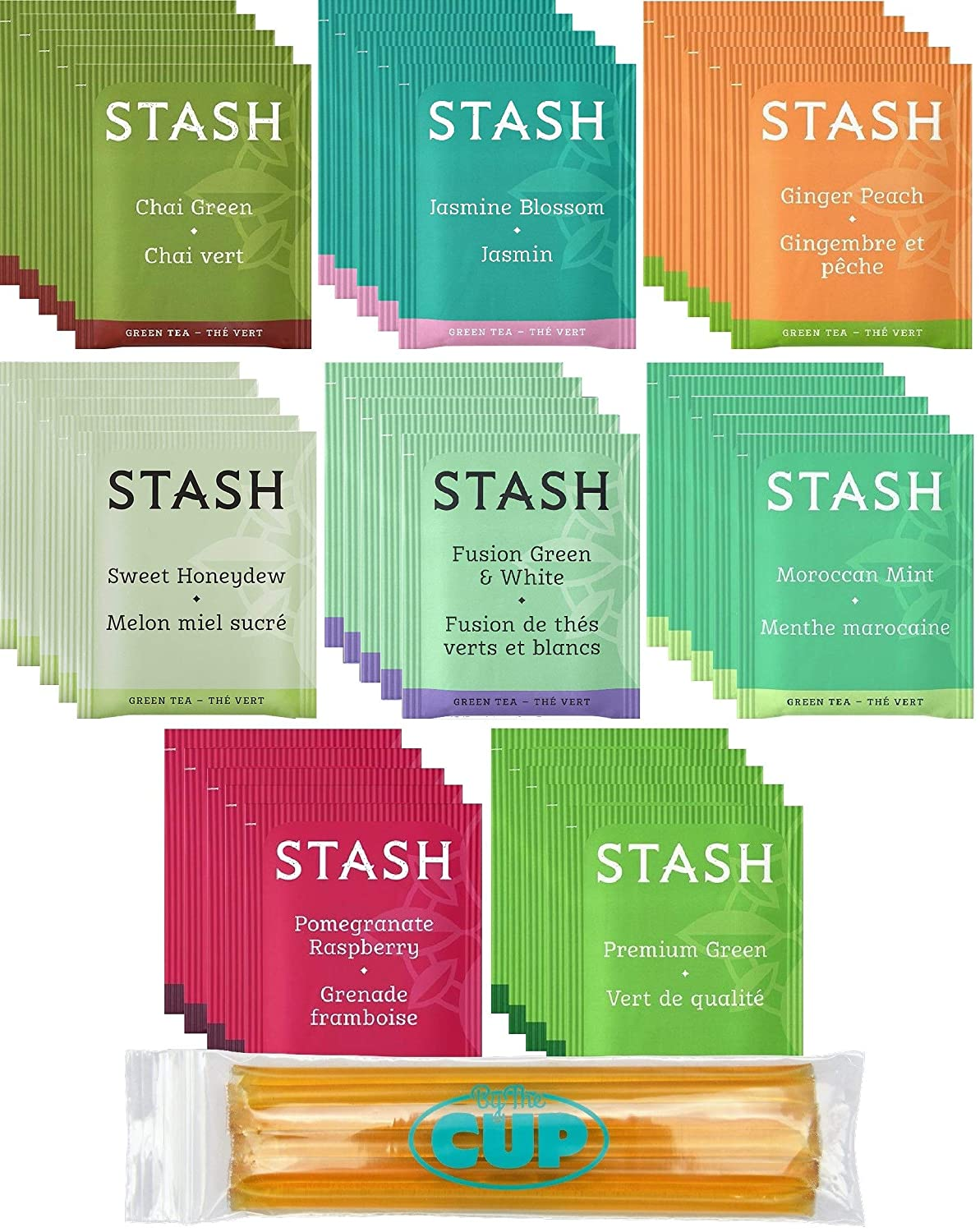 Stash Tea Bag & By The Cup Honey Sticks Variety Sampler 40 Ct - 8 Flavor Assortment - includes Green & White Blends