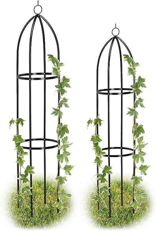 Relaxdays, Negro Set de Dos Soportes para Plantas, Enrejado para jardín, Arco para trepadoras, Impermeable, 139 x 149 cm: Amazon.es: Jardín