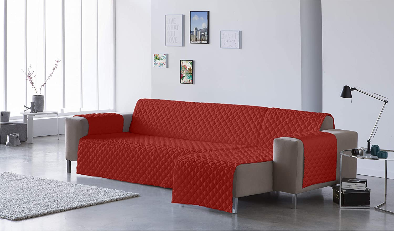 Lucena Cantos - Cubre Sofá Reversible, (Teja/Naranja, Chaise-Longue 200 cm)
