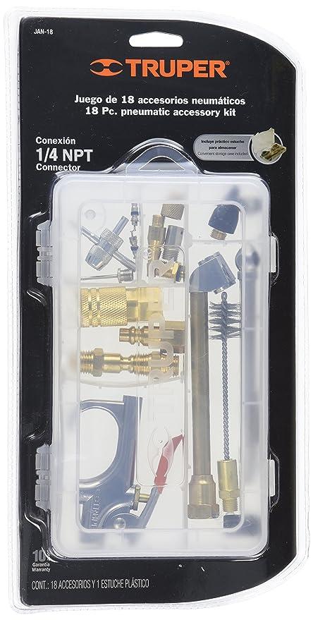 TRUPER Juego de 18 piezas pistola y accesorios 1/4 NPT para compresores de aire