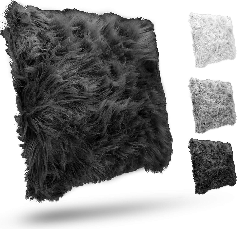 Homes Heaven Kunstfellkissen 45cm x 45cm Flauschiges Langhaar Zierkissen f/ür zus/ätzlichen Komfort sch/önes Design waschbar Dekokissen mit F/üllung in Felloptik grau