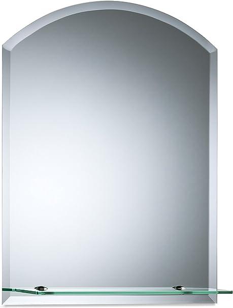 Magnifique miroir de salle de bain arrondi avec /étag/ère moderne et /él/égant taill/é en biseau mural 50cm x 40cm