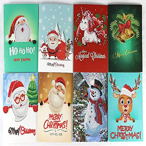 Amazon.com : JEWH 8pcs/set mini Merry Christmas Card Greeting Cards ...