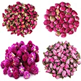 TooGet Dried Flowers Natural Flowers Includes Red Rose Flowers, Peony Ball, Gomphrena globosa, Peach Flowers, Edible Flower K