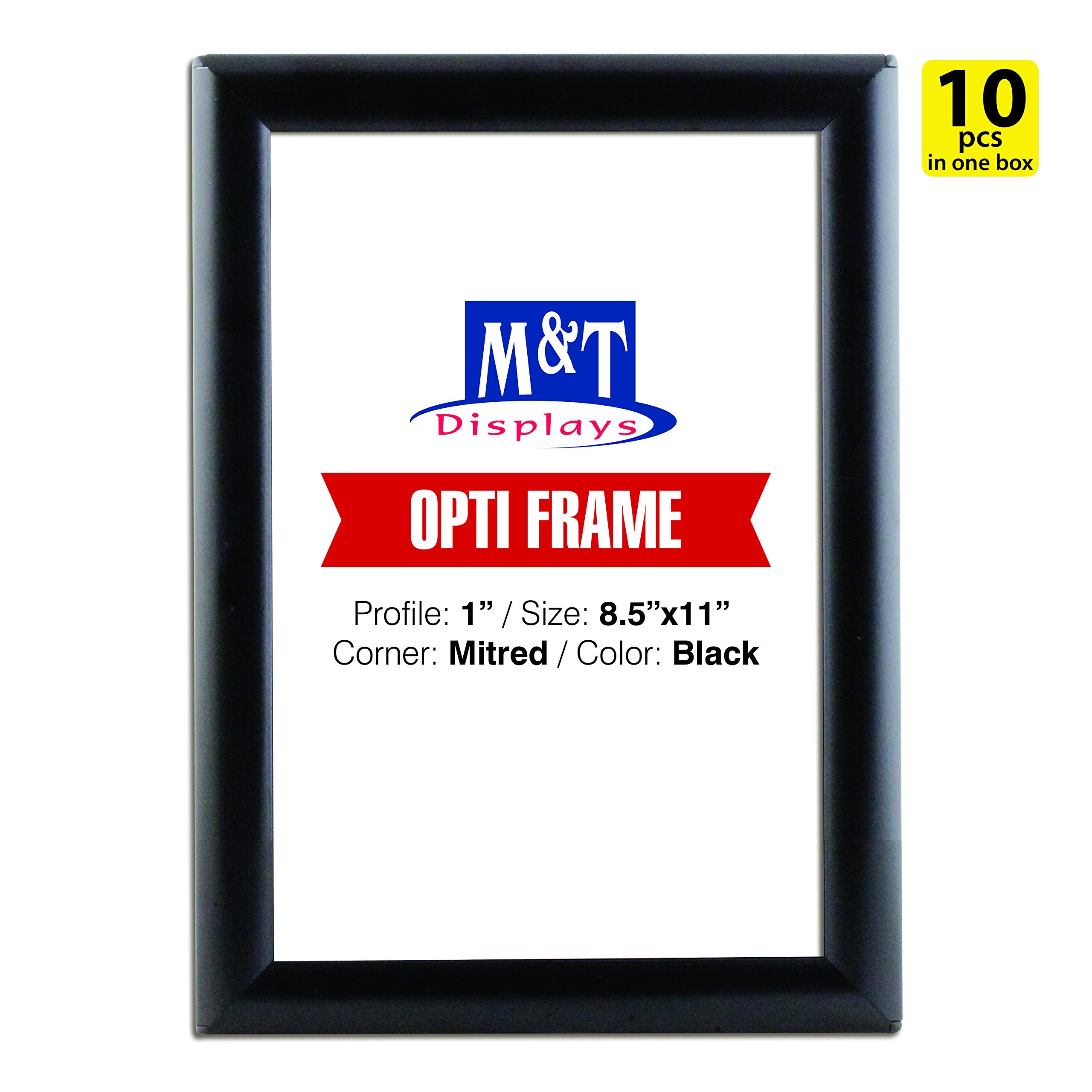M&T Displays 8.5x11 Snap Frame for Wall Mount, Snap Open Frame, 1 inch Profile - Black / 10pcs / $8.25 Each