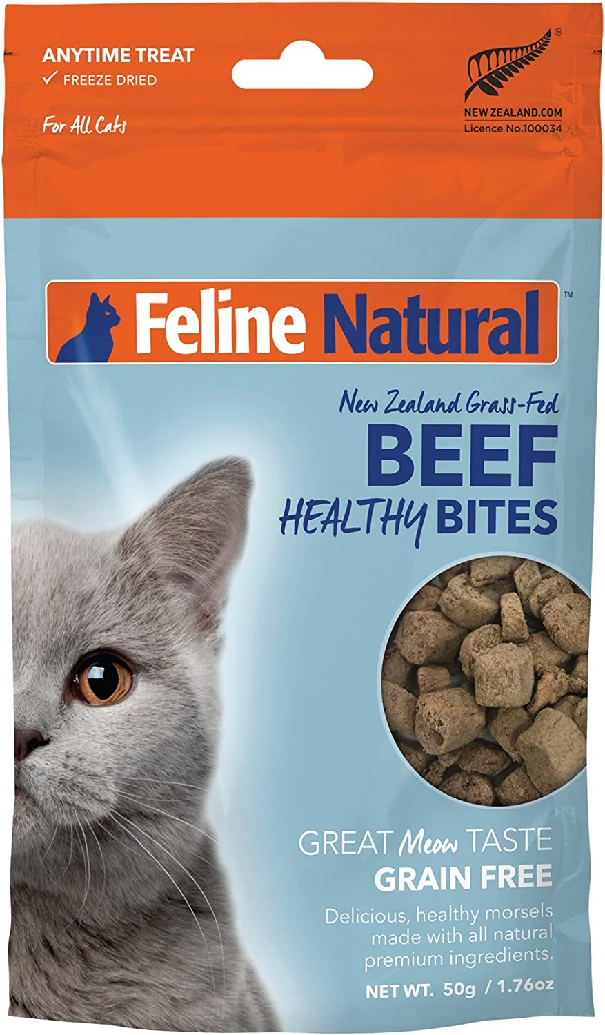 Feline Natural Grain-Free Freeze Dried Cat Treats, Beef 1.76oz