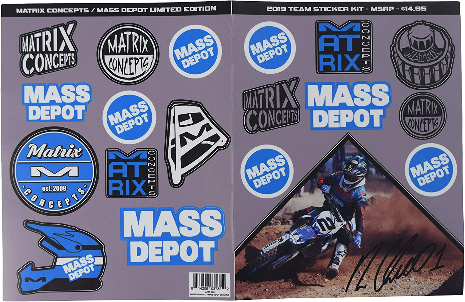 Matrix Concepts M64 Motocross Elite Dirt Bike MX Stand w Limited Edition 25 Piece Sticker Kit Black