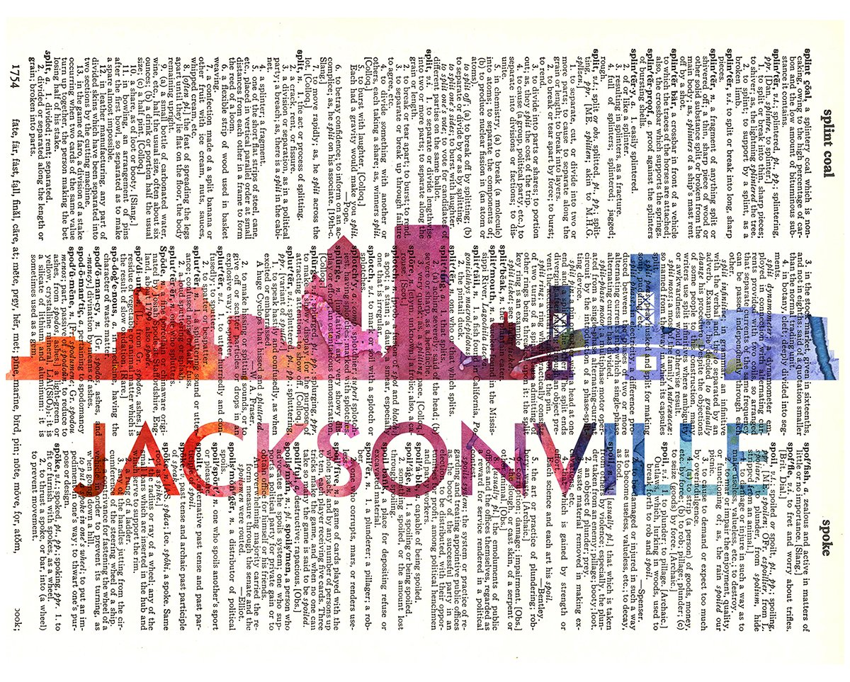 Fresh Prints of CT Jacksonville Love Your City Watercolor Skyline Dictionary Art Print Printed On Authentic Vintage Dictionary Book Page