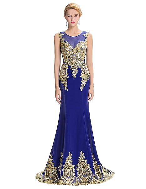 Vestido con Encaje de Lace Sin Mangas Elegante Largo Vestido Azul Oscuro 4# 32